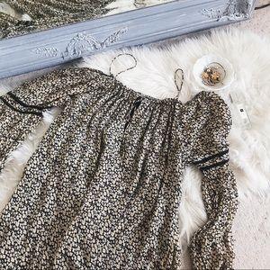 Zara Floral Peasant Off Shoulder Dress M